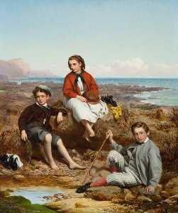 William Crosby - Florence, Arthur and Charles Moore on a Sea Shore