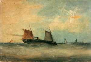 Charles Beaty - Steam Vessels at Sea
