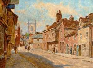 Walter J Stamps - View of St Mary's Street Looking towards the Church, High Wycombe