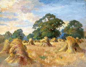 Robert Green - Landscape with Stooks