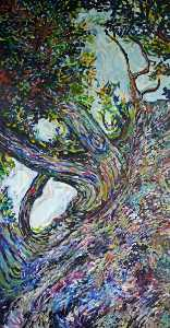 Mark Bearpark - Large Tree Diptych (diptych, left panel)