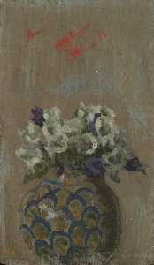 Walter Richard Sickert - Sweet Violets – White and Blue Violets in a Patterned Bowl