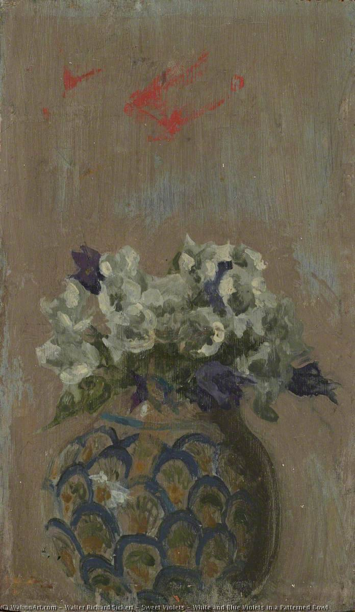 famous painting Sweet Violets – White and Blue Violets in a Patterned Bowl of Walter Richard Sickert