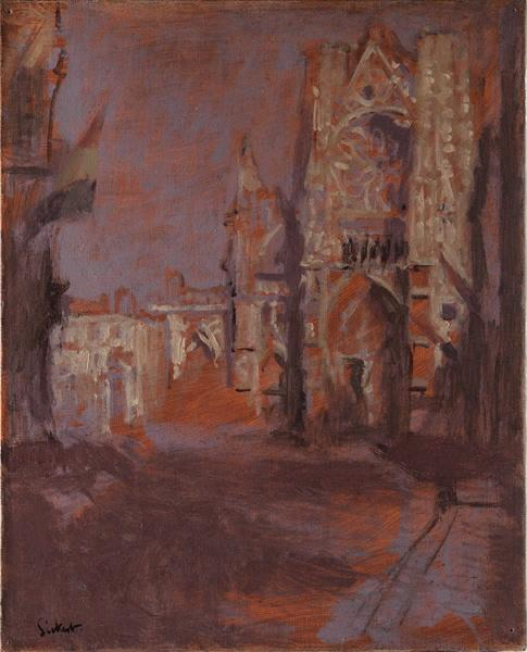 famous painting L'église Saint Jacques, façade au soleil couchant L'église Saint Jacques, façade au soleil couchant of Walter Richard Sickert