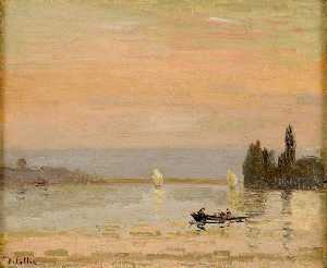 Joseph Delattre - Lake with a rowing boat