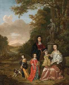 Jan Le Ducq - A Group Portrait of the Loth Family in a Landscape