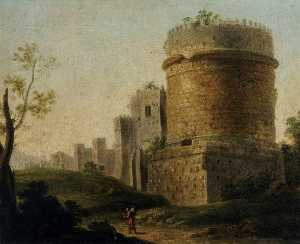 Paolo Anesi - Ruined Tower in an Italianate Landscape