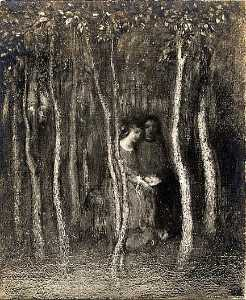 Arthur Bowen Davies - Lovers in the Woods, (painting)