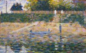 Georges Pierre Seurat - Boat by the Bank, Asnieres