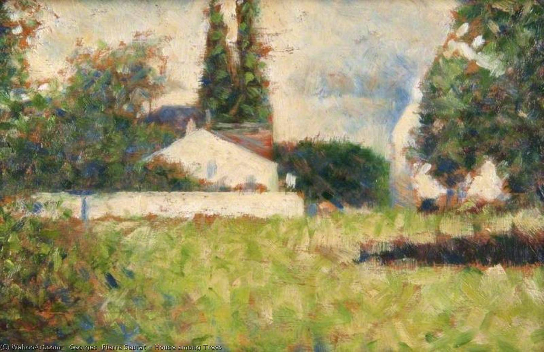 famous painting House among Trees of Georges Pierre Seurat