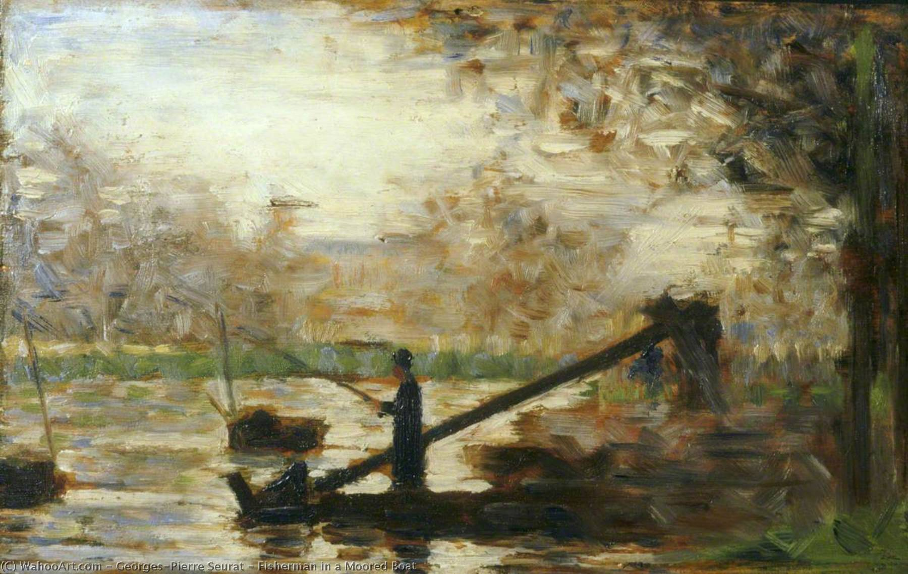 famous painting Fisherman in a Moored Boat of Georges Pierre Seurat