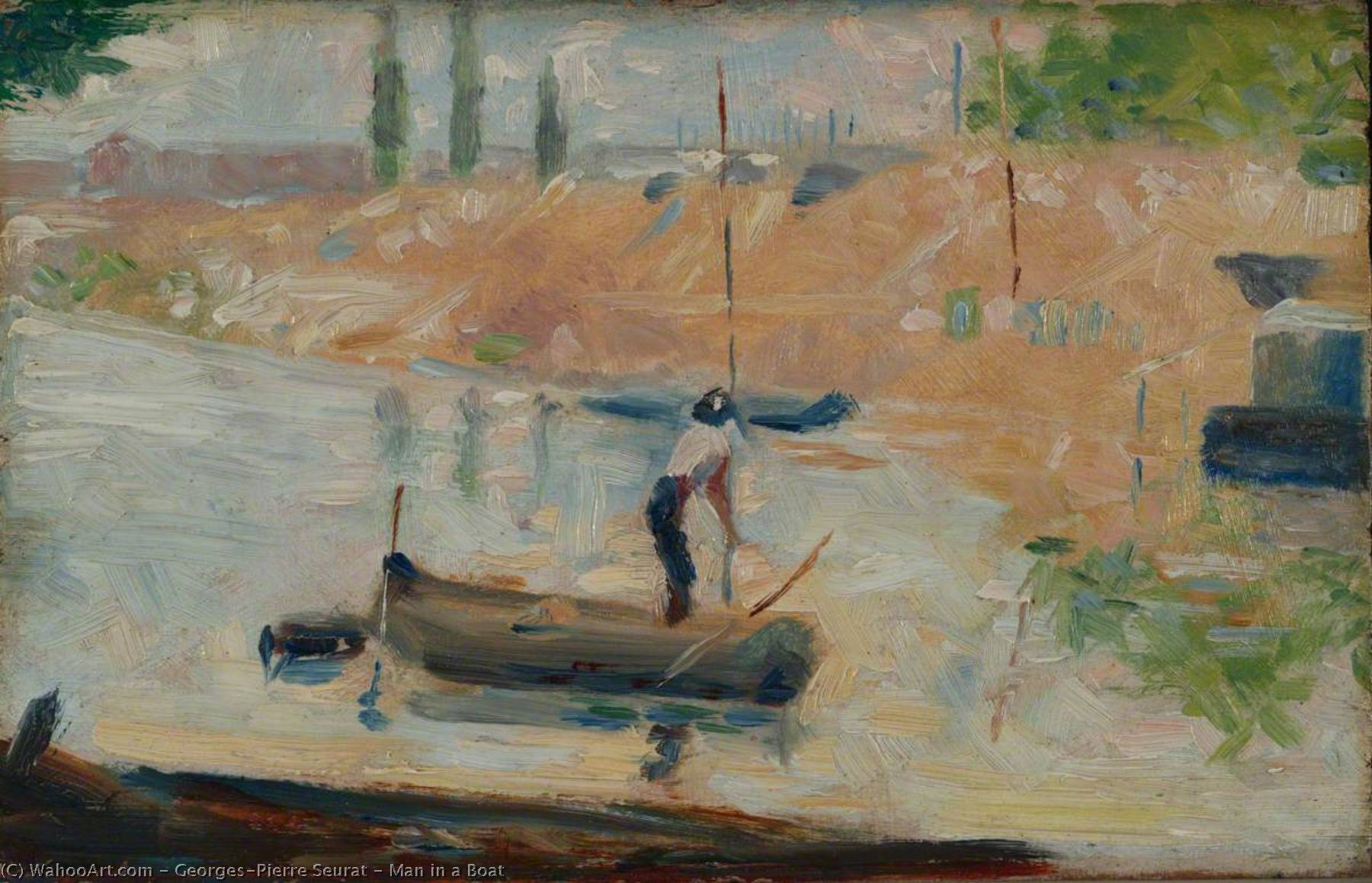 famous painting Man in a Boat of Georges Pierre Seurat