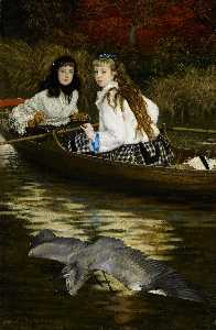 James Jacques Joseph Tissot - English On the Thames, A Heron