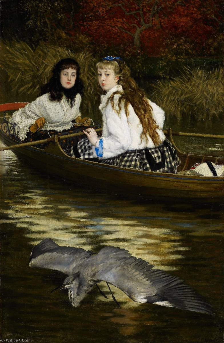 famous painting English On the Thames, A Heron of James Jacques Joseph Tissot