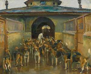 Alfred James Munnings - The Belvoir Kennels