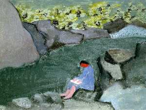 Milton Avery - Girl Reading by a Lake