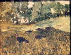 Arthur Bowen Davies - Wild Turkeys in the Grass, (painting)