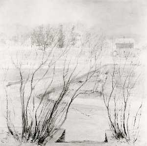 John Henry Twachtman - Lilacs in Winter, (painting)