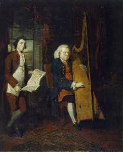 William Parry - John Parry the Blind Harpist, with an Assistant