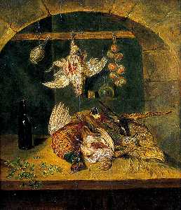 Emily Stannard - Still Life of Dead Game with a Flagon and a String of Onions