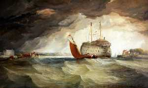 Edward Francis Drew Pritchard - Fishing Boat by a Hulk Ship in an Estuary