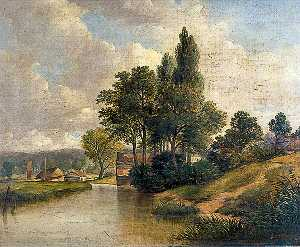 Obadiah Short - River Scene with a Cottage and Trees