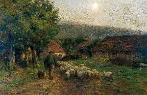 Joseph Harold Swanwick - Evening in the Old Priory Farmyard, Wilmington, Sussex